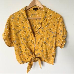 DYNAMITE S Yellow Floral Tie/ button crop blouse